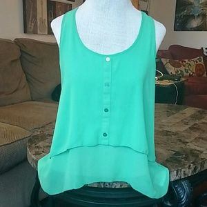 NWOT Green Sheer Tiered High-to-Low Tank Top